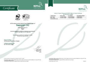 PEFC tootmissertifikaat